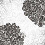 抽象装饰,与抽象花的邀请卡片 免版税图库摄影