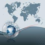 抽象计算机图表世界地图和地球地球在玻璃里面球形  免版税库存照片