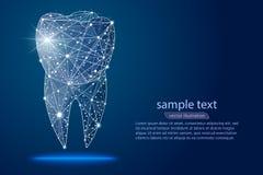 抽象设计牙齿牙齿诊所,商标低多wireframe 导航抽象多角形图象饲料线和点 库存例证