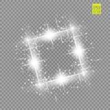抽象豪华白色传染媒介光火光火花光线影响 在透明的闪耀的发光的方形的框架 星光 向量例证