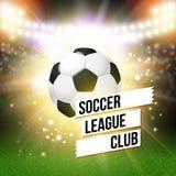 抽象足球橄榄球海报 与明亮的体育场背景 库存图片