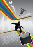 抽象踩滑板的空间 库存例证