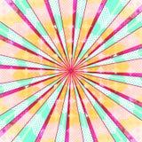 抽象辐形太阳爆炸背景 减速火箭的被消散的样式五颜六色的光后边 也corel凹道例证向量 10 eps 库存照片