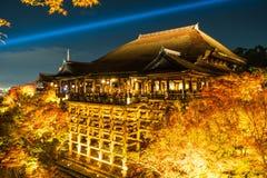 抽象迷离清水寺寺庙和大游廊,京都, 免版税图库摄影