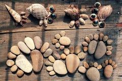 抽象逗人喜爱的小卵石,从冰砾的脚印 免版税库存照片