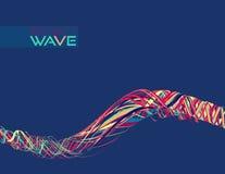 抽象通知 与波浪稀薄的彩带的样式 免版税库存图片