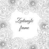 抽象部族zentangle花卉框架背景 免版税库存照片