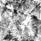 抽象都市无缝的样式 Grunge纹理背景 拖着脚走路的下落喷洒,三角,小点,黑白浪花 免版税库存照片