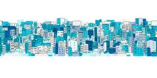 抽象都市风景背景,您的设计的无缝的样式 皇族释放例证