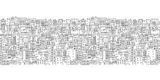 抽象都市风景背景,无缝的样式 免版税库存图片