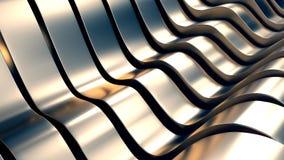 抽象金属波浪背景3D例证 库存例证