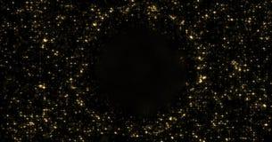 抽象金微粒和闪耀的星或闪烁光在空的圈子球形附近 金黄轻的火光亮光或焕发强光 向量例证
