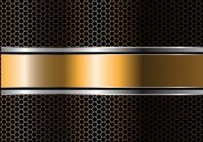 抽象金银黑色线在金属六角形滤网设计现代豪华未来派背景传染媒介的横幅交叠 向量例证