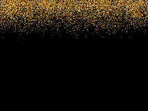 抽象金闪烁的星黑背景 金黄闪烁纹理 库存图片