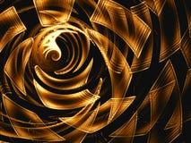 抽象金黄漩涡或隧道数位引起了图象 向量例证