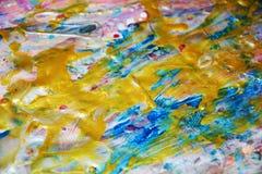 抽象金黄蓝色桃红色淡色纹理,蜡状的抽象背景,水彩生动的背景,纹理 免版税库存照片