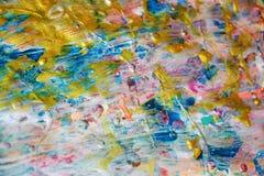 抽象金黄蓝色桃红色银色纹理,蜡状的抽象背景,水彩生动的背景,纹理 免版税库存图片
