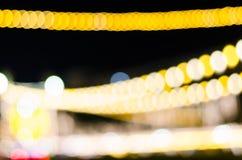 抽象金黄Bokeh被弄脏的光 库存图片