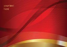 在红色背景的抽象金黄传染媒介曲线 免版税库存图片