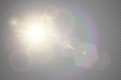 抽象金黄前面太阳透镜火光透亮特别光线影响设计 在行动焕发强光的传染媒介迷离 向量例证