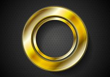抽象金黄圆环商标 免版税库存照片