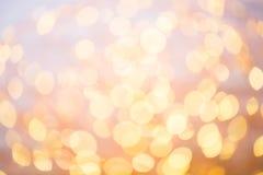 抽象金bokeh 圣诞节和新年题材背景 免版税库存图片