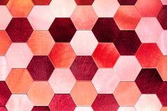 抽象银有红色金属背景 几何六角形 免版税库存照片