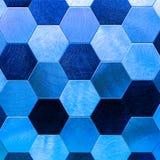抽象银有蓝色金属背景 几何六角形 免版税库存图片