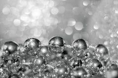 抽象银色与软的f的圣诞节黑白背景 免版税库存图片