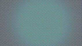 抽象银色六角形在蓝色背景中 免版税库存照片