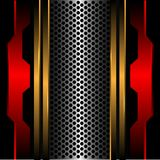 抽象银色圈子滤网金线在黑设计现代未来派背景纹理传染媒介的红色金属 库存图片