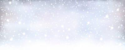 抽象银色蓝色冬天,与降雪的圣诞节横幅 免版税库存照片