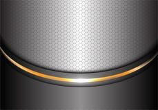 抽象银色金线曲线六角形滤网设计现代豪华背景纹理传染媒介 免版税图库摄影