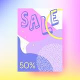 抽象销售横幅,几何背景 孟菲斯样式 免版税库存图片