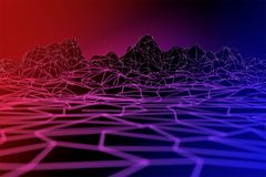 抽象霓虹灯多角形wireframe表面背景 库存例证