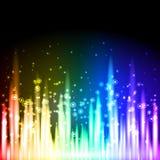 抽象霓虹背景底部边 库存图片