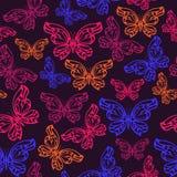 抽象霓虹蝴蝶无缝的样式 库存照片