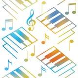 抽象音乐背景 钢琴钥匙和音符 无缝的模式 库存图片