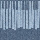 抽象音乐钢琴锁上-无缝的背景-蓝色牛仔裤 免版税库存图片