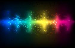 抽象音频声波调平器 音乐合理的概念五颜六色的黑暗的发光的模板 免版税库存图片