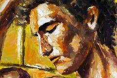 抽象顶头在帆布的画象原始的油画-五颜六色的绘画-现代印象主义艺术 库存照片