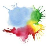 抽象颜色水彩污点 免版税库存图片