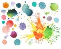 抽象颜色水彩污点 库存图片