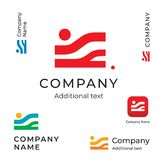 抽象风景现代商标企业身分品牌App象标志概念集合模板 免版税库存图片