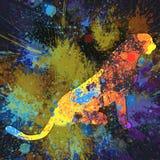 抽象飞溅豹子绘画-在帆布绘画的丙烯酸酯 免版税库存图片
