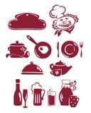 抽象食物图标设置了器物 皇族释放例证
