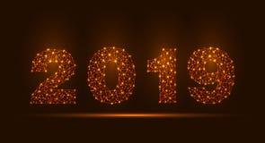 抽象饲料线和分数量表在黑暗的背景与2019年新年快乐 向量例证