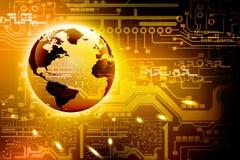 抽象高科技电路板和世界 免版税库存图片