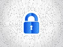 抽象高科技电路板 技术数据保护概念 系统保密性,网络安全 免版税库存图片