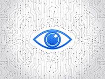 抽象高科技电路板 眼睛网络安全概念 免版税图库摄影